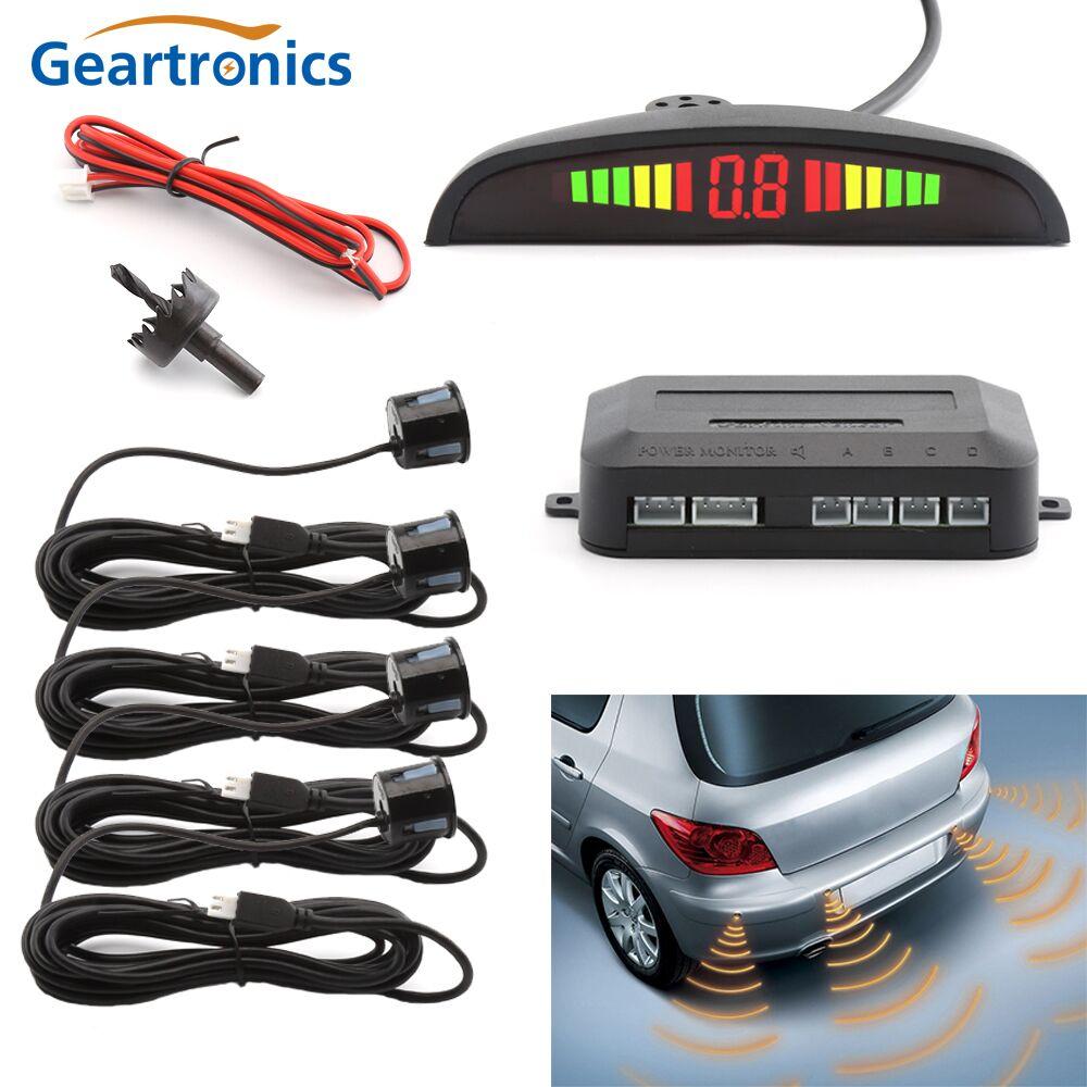 [해외]자동차 자동 Parktronic LED 주차 Sensor4 센서 역방향 백업 자동차 주차 레이더 모니터 감지기 시스템 백라이트 디스플레이/Car Auto Parktronic LED Parking Sensor4 Sensors Reverse Backup Car Pa