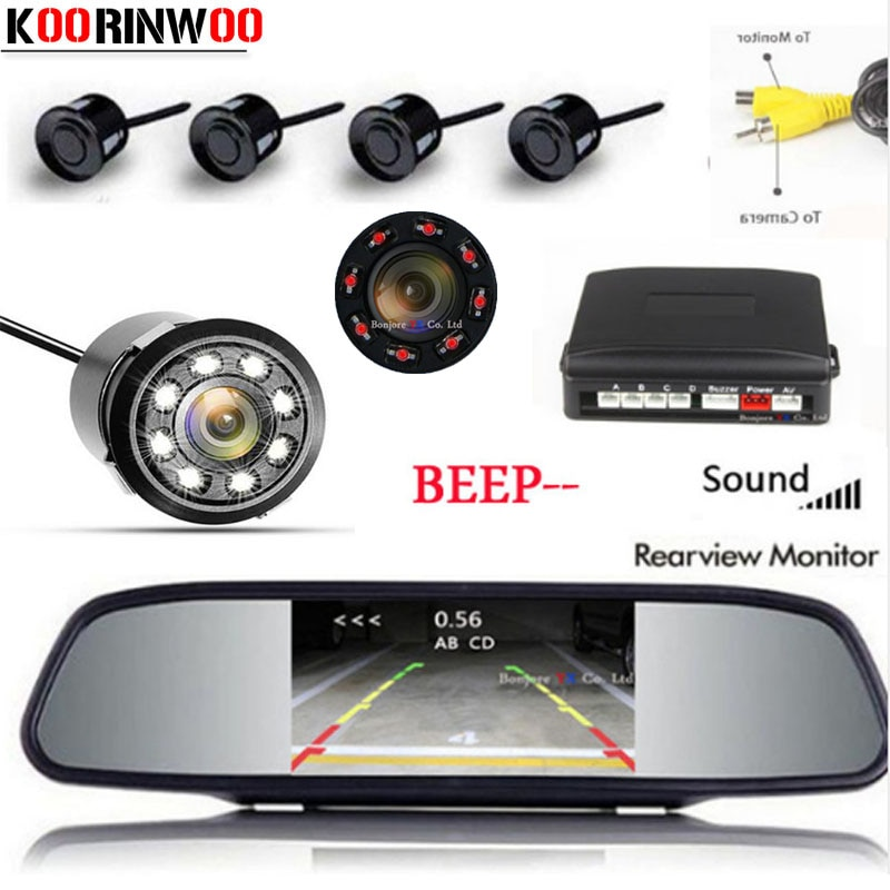 [해외]Koorinwoo HD 미러 스크린 듀얼 코어 CPU 주차 센서 4 레이더 알람 표시기 블라인드 프로브 Parktronic Auto Rearview camera/Koorinwoo HD Mirror Screen Dual Core CPU Car Parking Sen