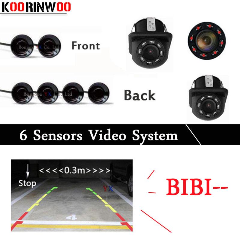 [해외]Koorinwoo 듀얼 코어 CPU 차 주차 센서 6 레이다 IP68 전면 BIBI 경보 주차 탐지기 Parktronic Car-detector Rearview camera/Koorinwoo Dual Core CPU Car Parking Sensors 6 Rad