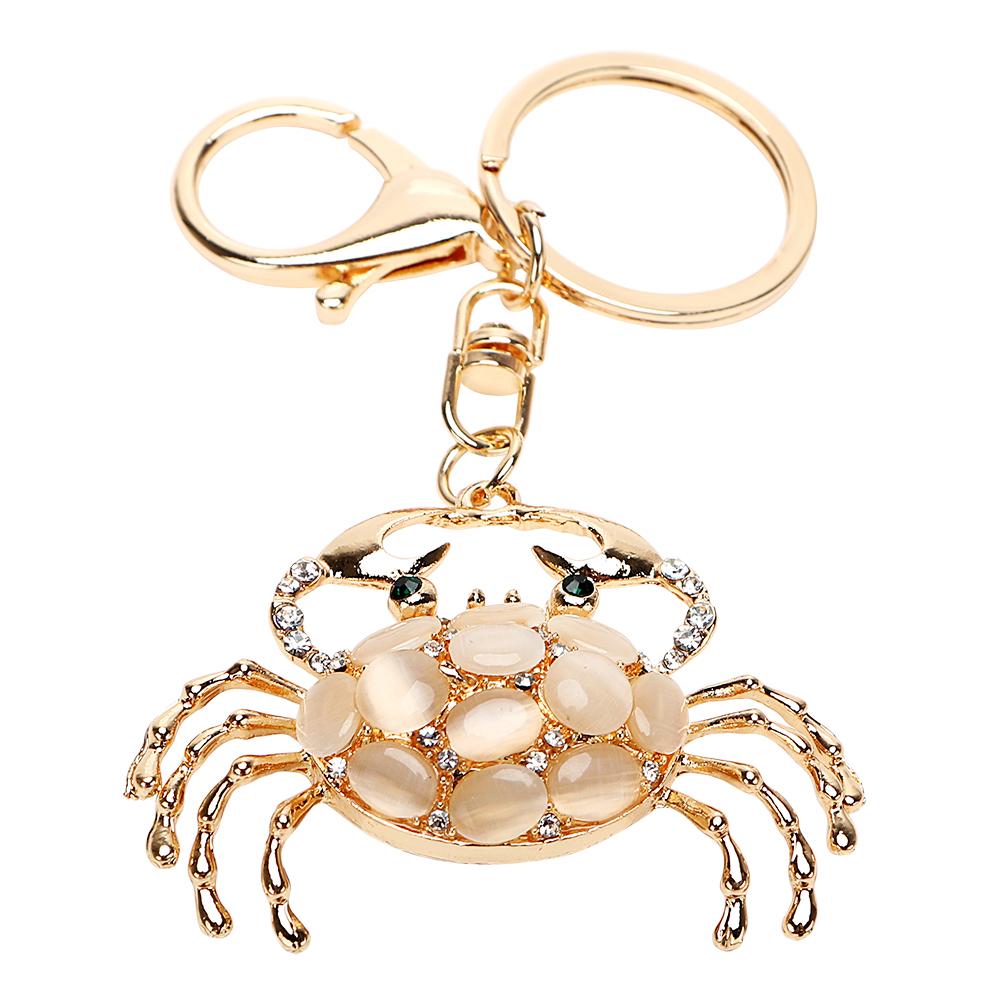 [해외]크리스탈 패션 크랩 키 체인 Keyfob 멋진 보석 고양이 & s의 눈 스톤 크리 에이 티브 선물 자동차 펜던트 키 체인 자동 키 링/Crystal Fashion Crab Key Chain Keyfob Cool Jewelry Cat&s Eye Stone