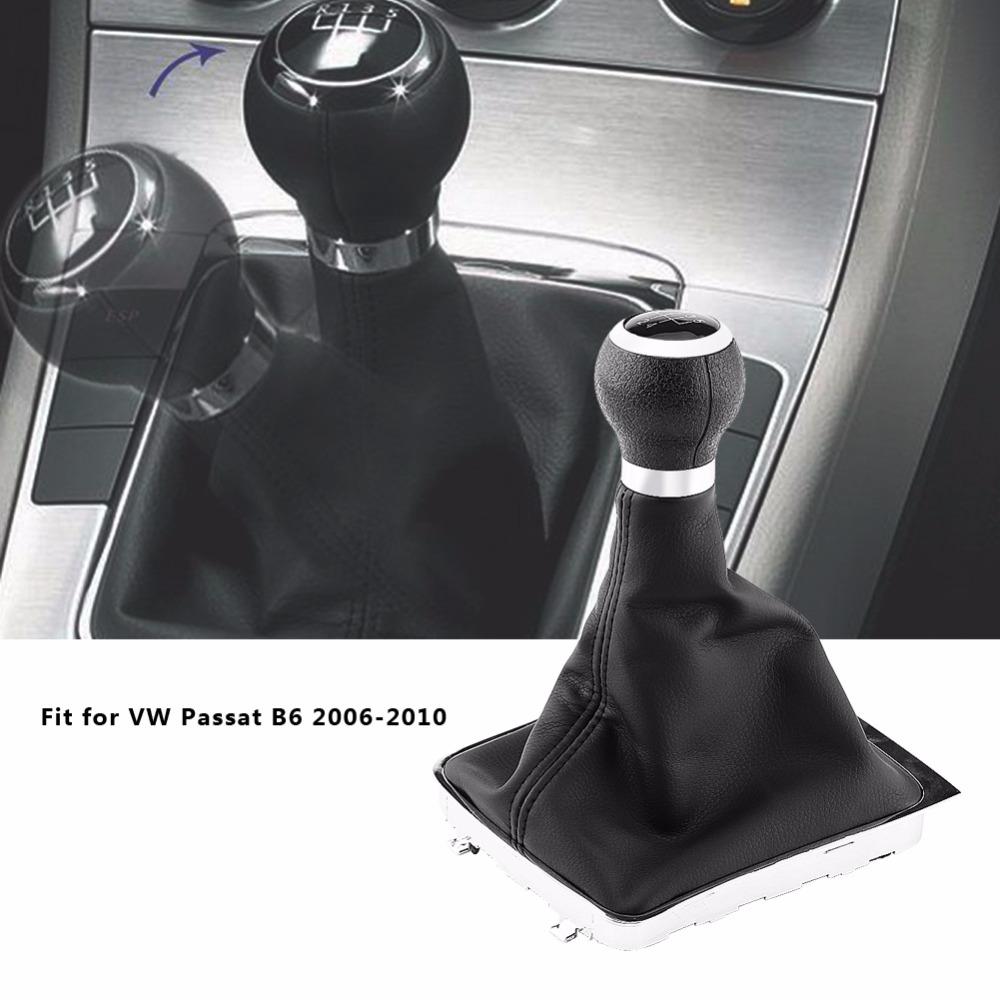 [해외]폭스 바겐 passat b6 2006-2010 블랙 가죽 기어 시프트 노브에 대 한 5 속도 자동차 기어 시프트 노브 gearstick gaiter 부팅 프레임 키트