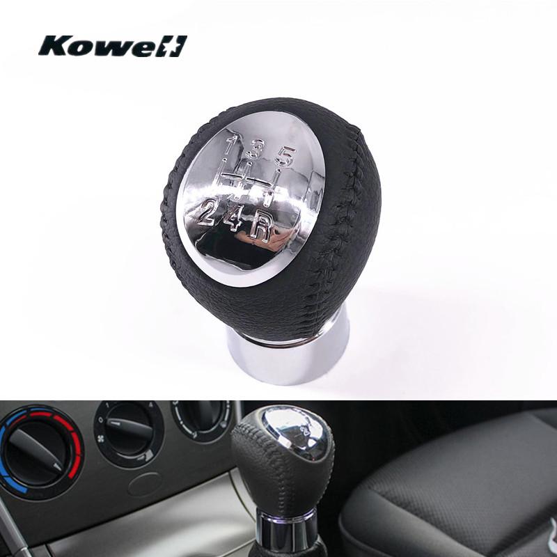 [해외]크롬 가죽 5 스피드 MT 기어 시프트 노브 쉬프트 레버 마즈다 6 마즈다 5 마즈다 3 기어 쉬프트 레버 스틱 헤드볼/Chromed Leather 5 Speed MT Gear Shift Knob Shifter Lever for Mazda 6 for Mazda