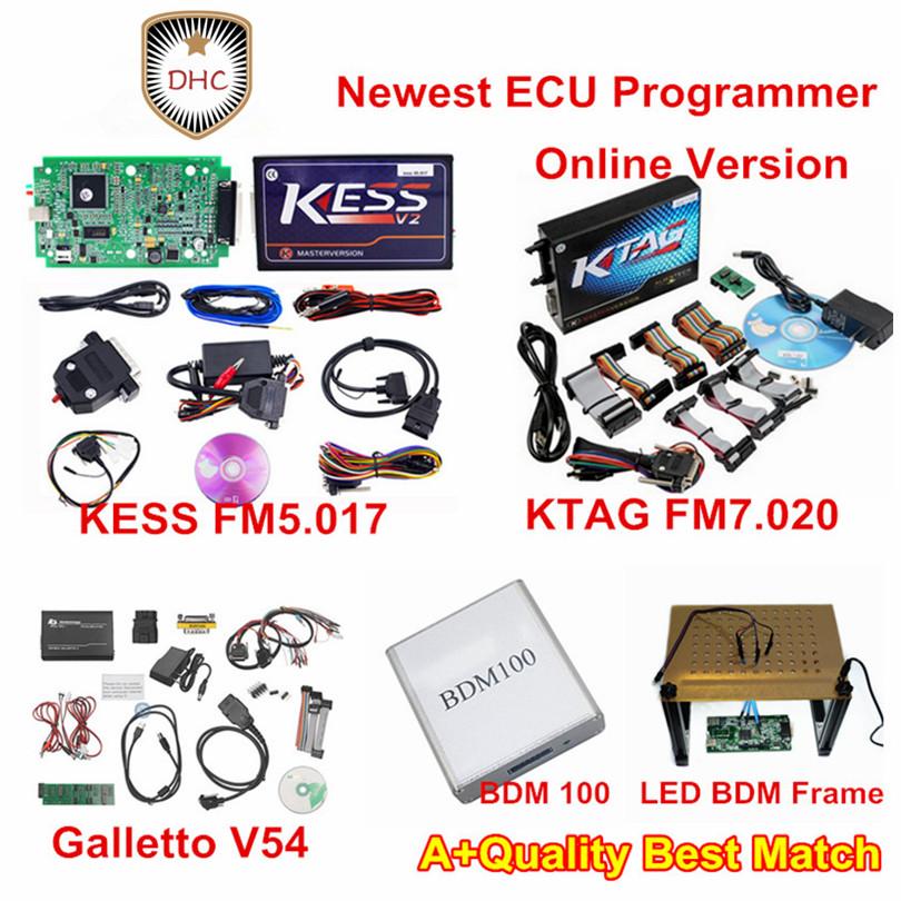 [해외]최신 ECU 프로그래머는 제한된 그린 PCB Ktag V7.020 + Kess V2 V5.017 + LED BDM 프레임 + Galletto v54 + BDM 100 풀 세트/Newest ECU Programmer no tocken limited Green PC