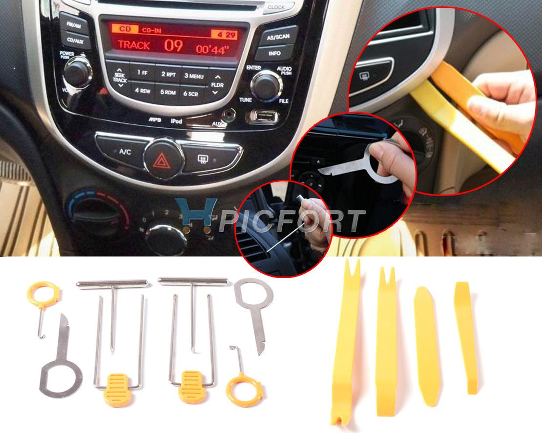 [해외]DWCX 오렌지 12pcs 플라스틱 자동차 라디오 도어 클립 패널 트림 스테레오 대시 제거 가두기 설치 복구 도구 추적/DWCX Orange 12pcs Plastic Car Radio Door Clip Panel Trim Stereo Dash Removal Pr