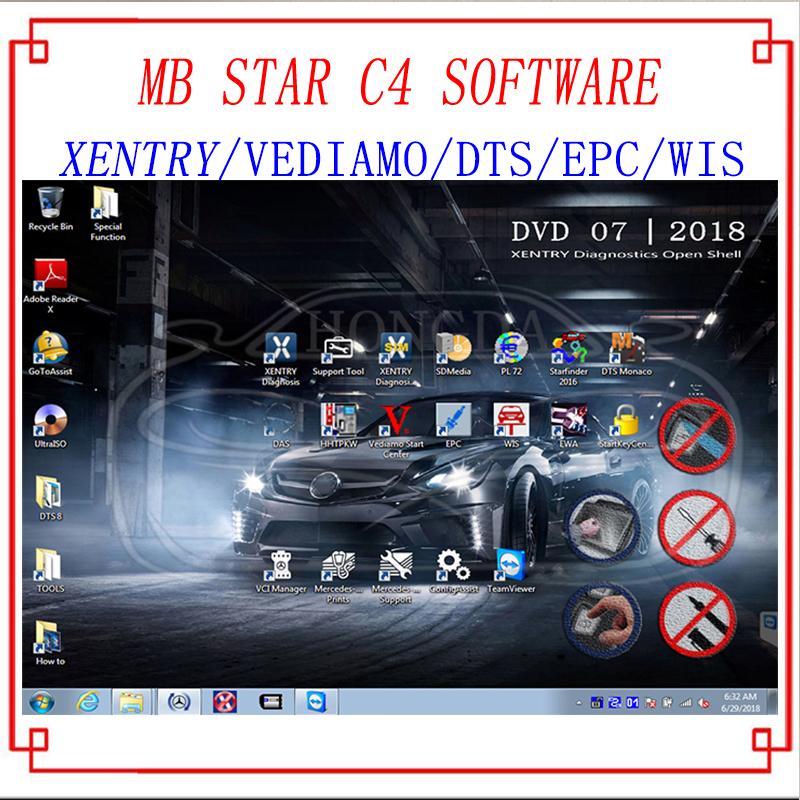 [해외]최신 종합 2018.07 MB STAR C4 전체 소프트웨어 XENTRY / DAS / EPC / WIS / Starfinder / EWA / VEDIAMO / DTS-C4 / C5 용 모나코 HDD / SSD/Newest Comprehensive 2018.07