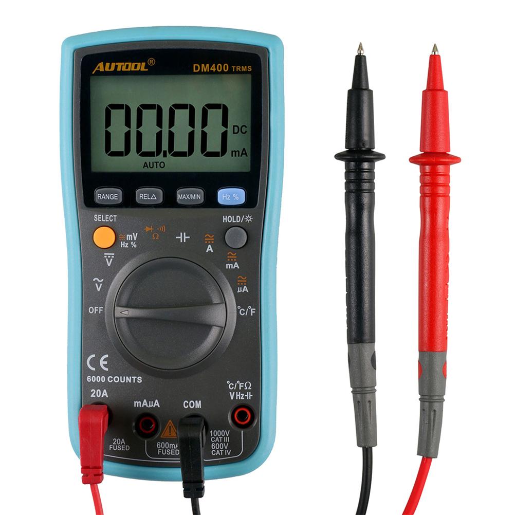 [해외]AUTOOL DM400 자동 디지털 멀티 미터 6000은 대형 LCD 스크린 디스플레이 멀티 미터 VC17B + 전압 전류를 계산합니다/AUTOOL DM400 Autoranging Digital Multimeter 6000 Counts Large LCD Scre