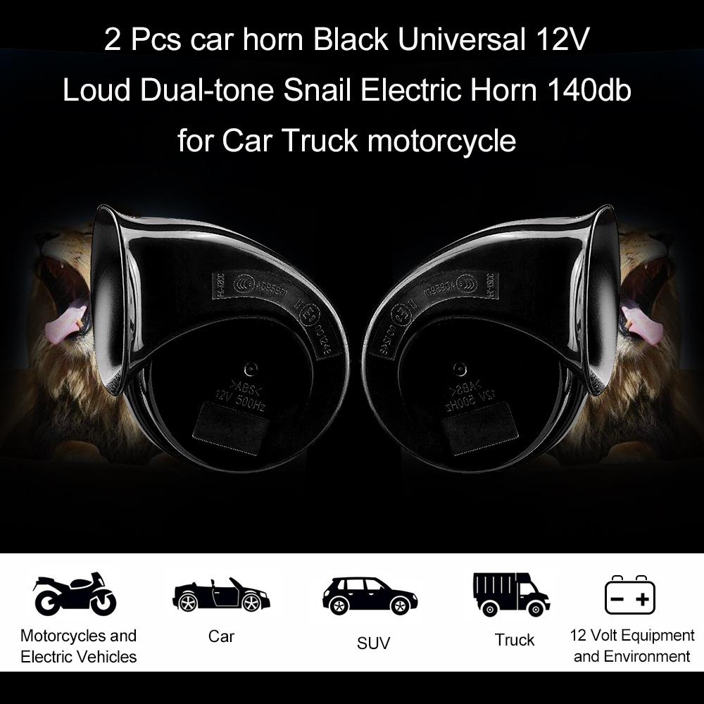 [해외]2 PC 경적 블랙 유니버설 12v 큰 듀얼 톤 달팽이 전기 경적 140db 자동차 트럭 오토바이에 대 한/2 Pcs Car Horn Black Universal 12v Loud Dual-tone Snail Electric Horn 140db for Car Tr