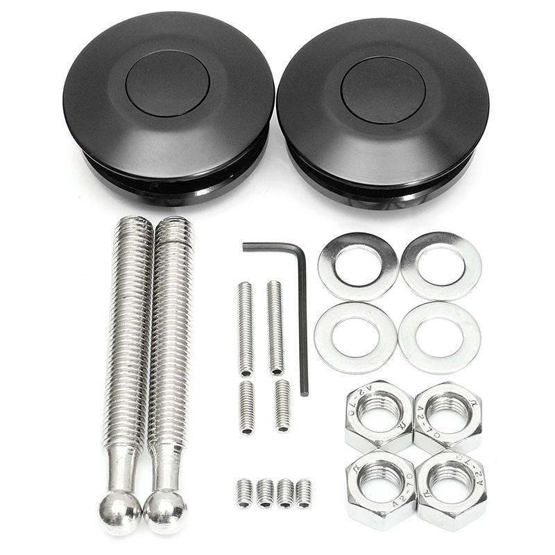 [해외]보편적 인 검은 금속 자동차 레이싱 푸시 버튼 빌렛 후드 핀 잠금 클립 보닛 키트 스타일링 빠른 래치 6.2cm / 2.44 &/Universal Black Metal Car Racing Push Button Billet Hood Pins Lock Cli