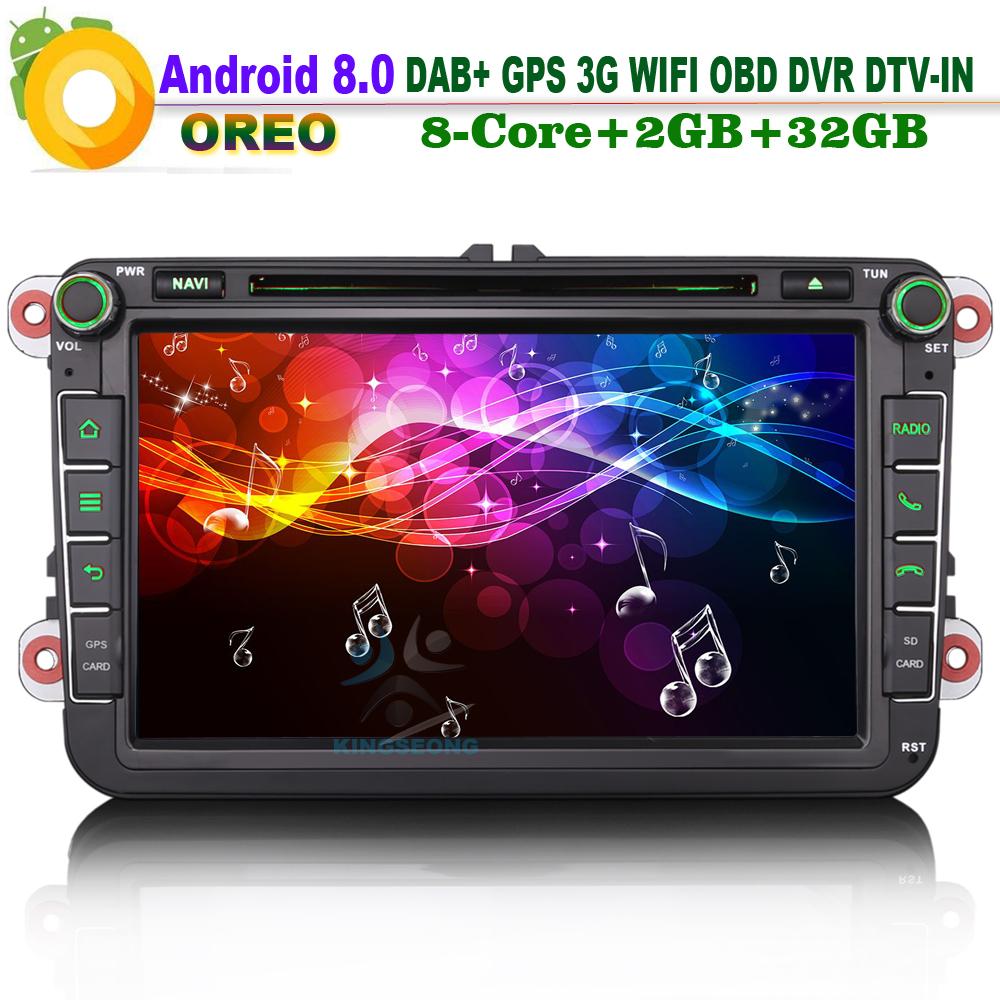 [해외]8 & DAB +? ?? ?? 8.0 Autoradio 자동차 토 Navi DVD DVR CD DTV 블루투스 WiFi 3G GPS RDS 자동차 GPS 네비게이션 용 SKODA Patrick Praktik/8& DAB+ 안드로이드 8.0 Autoradi