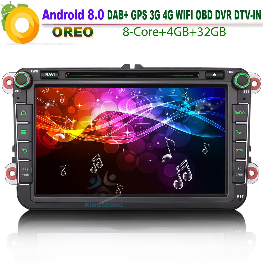 [해외]? ? ???? ?? 8.0 DAB + Caddy 좌석 OPS Satnav WiFi 라디오 4G RDS CD BT DVD SD OBD GPS for VW 폴로 passat 골프 Multivan T5 Car Stereo/안드로이드 8.0 DAB+ Caddy Sea