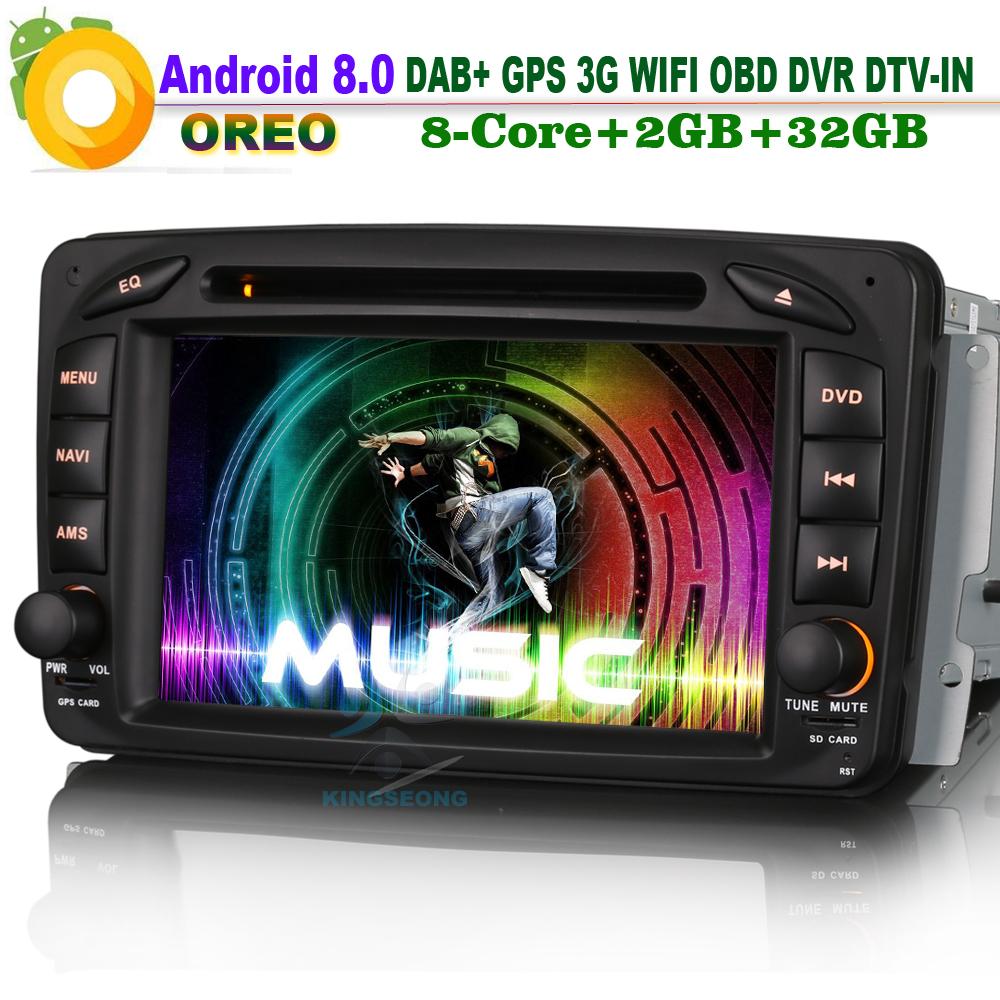 [해외]? ? ???? ?? 8.0 Autoradio DAB + 와이파이 DVD 토 Navi DVR 라디오 OBD2 자동차 GPS 네비게이션 플레이어 메르세데스 C / CLK-Klasse W203 Viano Vito/안드로이드 8.0 Autoradio DAB+ WiFi