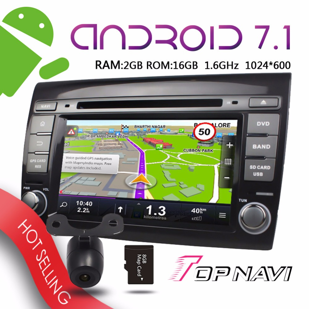 [해외]Topnavi 7 &&? ? ???? ?? 7.1 Fiat Bravo 용 차량 플레이어 2007 2008 2009 2010 2011 2012 플러그 앤 플레이 Ram2g 무선 Wifi 3G 멀티미디어/Topnavi 7&& 안드로이드 7.1 Vehi