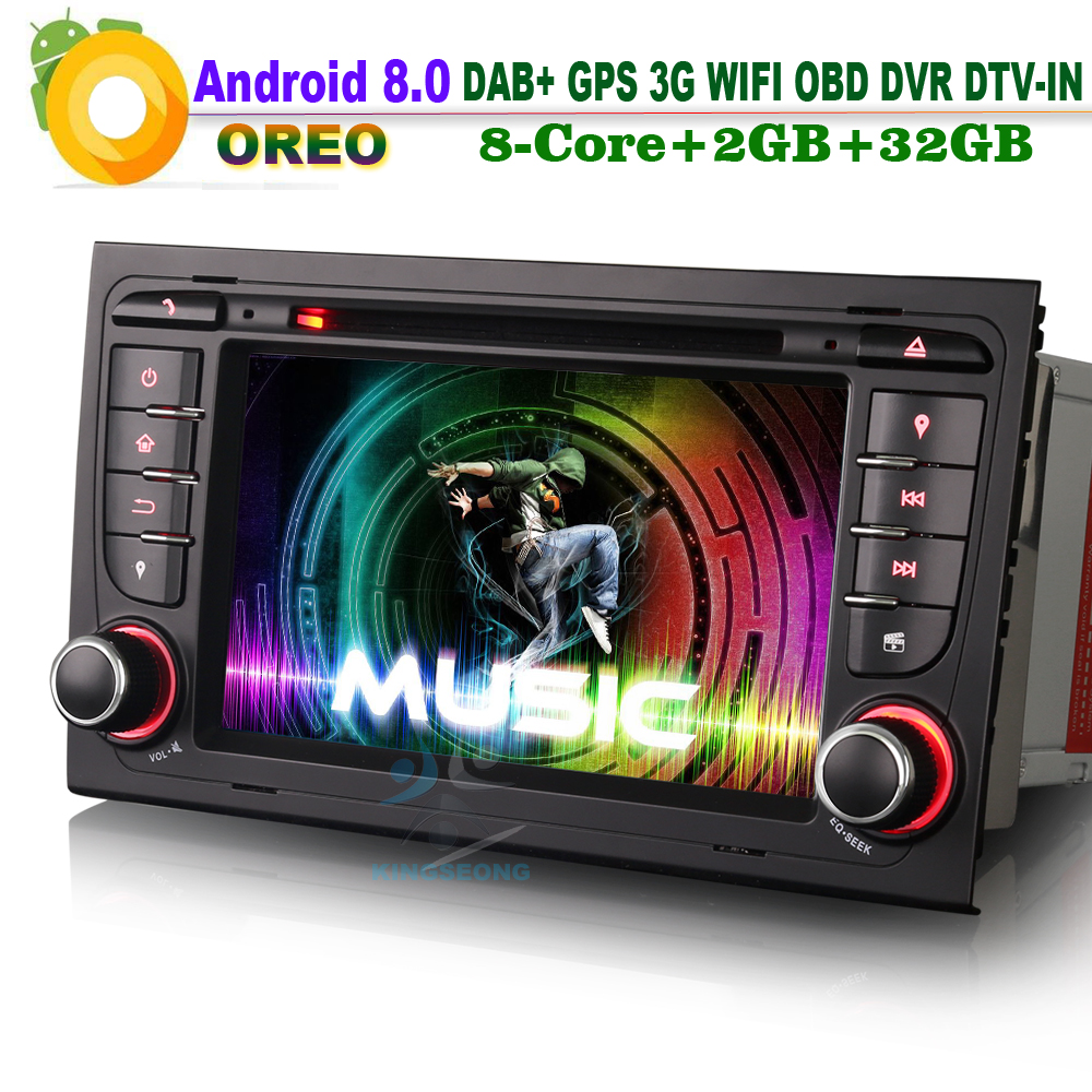 [해외]? ? ???? ?? 8.0 DAB + 토 너비 Wifi 3G DVR RDS OBD DTV-IN 헤드 유닛 BT DVD 라디오 자동차 GPS 네비게이션 AUDI A4 S4 RS4 B7 B9 SEE EXEO/안드로이드 8.0 DAB+Sat Navi Wifi 3G