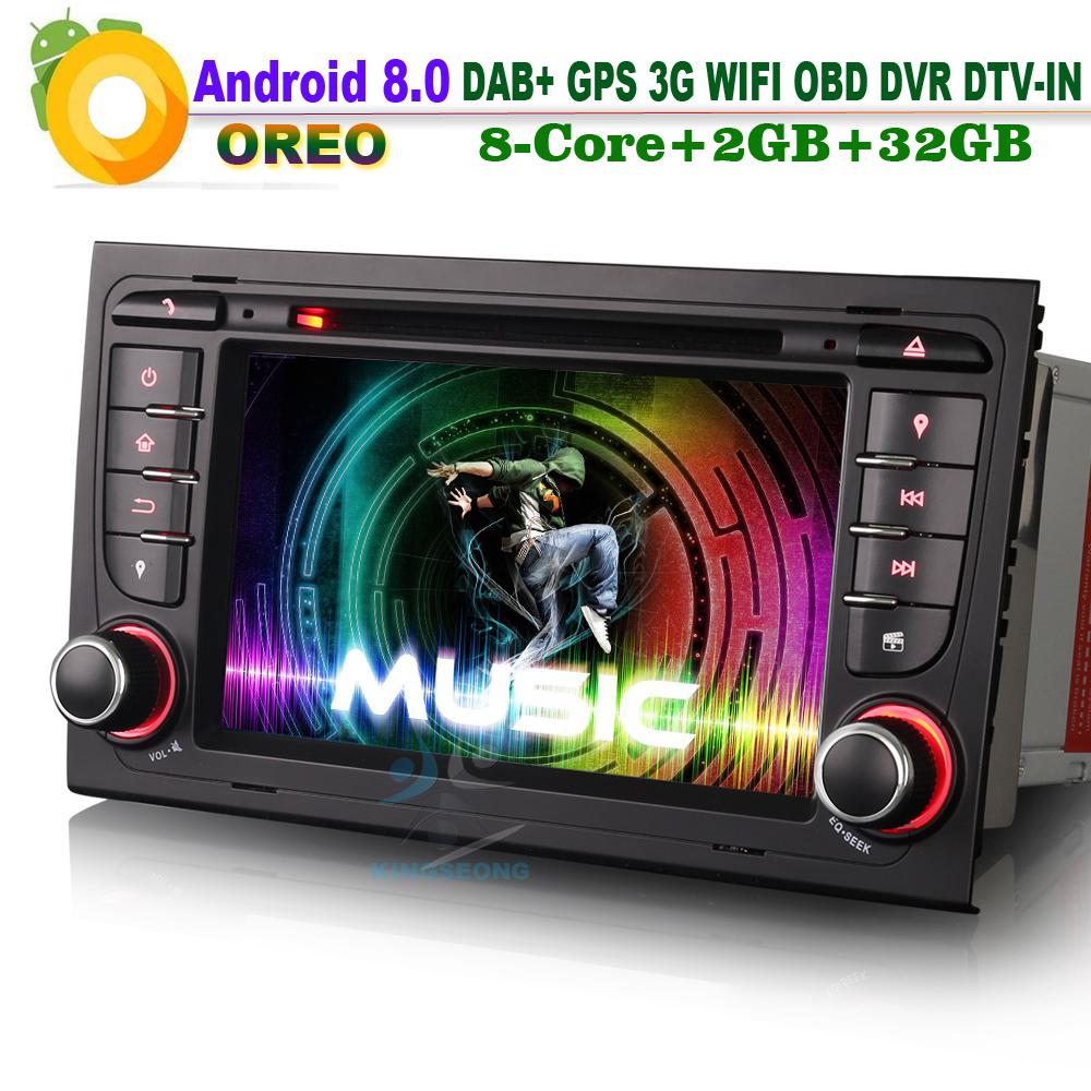 [해외]? ? ???? ?? 8.0 DAB + 토 너비 Wifi 3G DVR RDS OBD DTV-IN 헤드 유닛 BT DVD 라디오 자동차 GPS 네비게이션 AUDI A4 S4 RS4 B7 B9 SEE EXEO/안드로이드 8.0 DAB+Sat Navi Wifi 3G