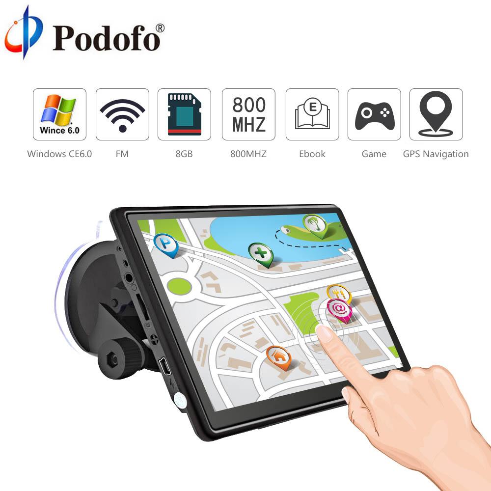 [해외]Podofo 7 & HD 자동차 GPS 네비게이션 FM 블루투스 AVIN 승리 CE 6.0 터치 스크린 위성 네비게이션 트럭 GPS 네비게이터 자동차 무료지도/Podofo 7& HD Car GPS Navigation FM Bluetooth AVIN Win