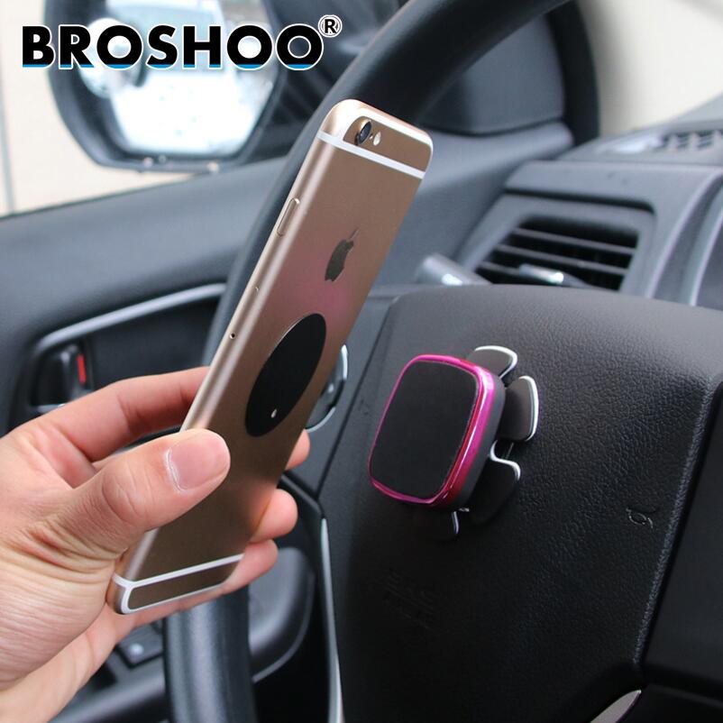 Broshoo 자동차 스타일링 휴대 전화 브래킷 자동차 스티어링 휠 자석 휴대 전화 홀더 gps 차량 프레임 6*6*0.9 cm