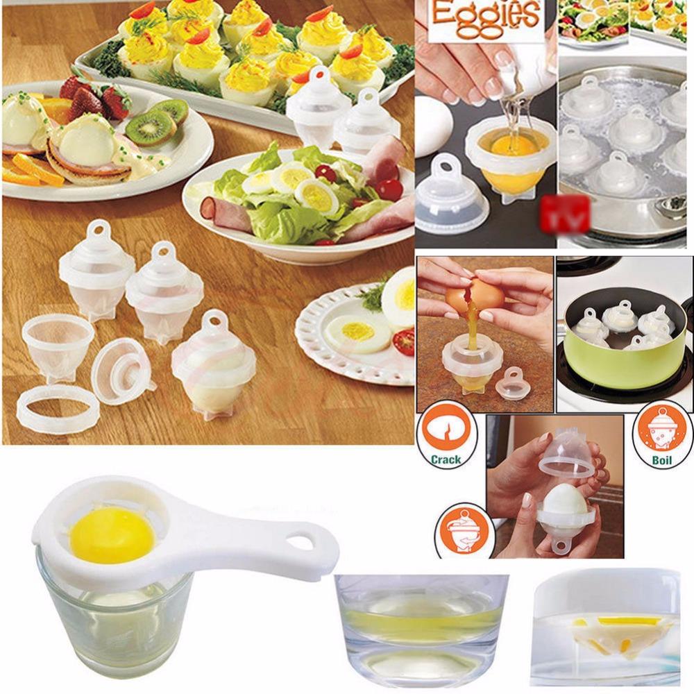 [해외]다기능 단단한 삶아 달걀 요리기구 쉘없이 달걀 6 개 흰색 분리 계란 달인 찜통 요리 도구/Multifunction Hard Boil Egg Cooker 6 Eggies Without ShellsBonus Egg White Separator Eggs Steame
