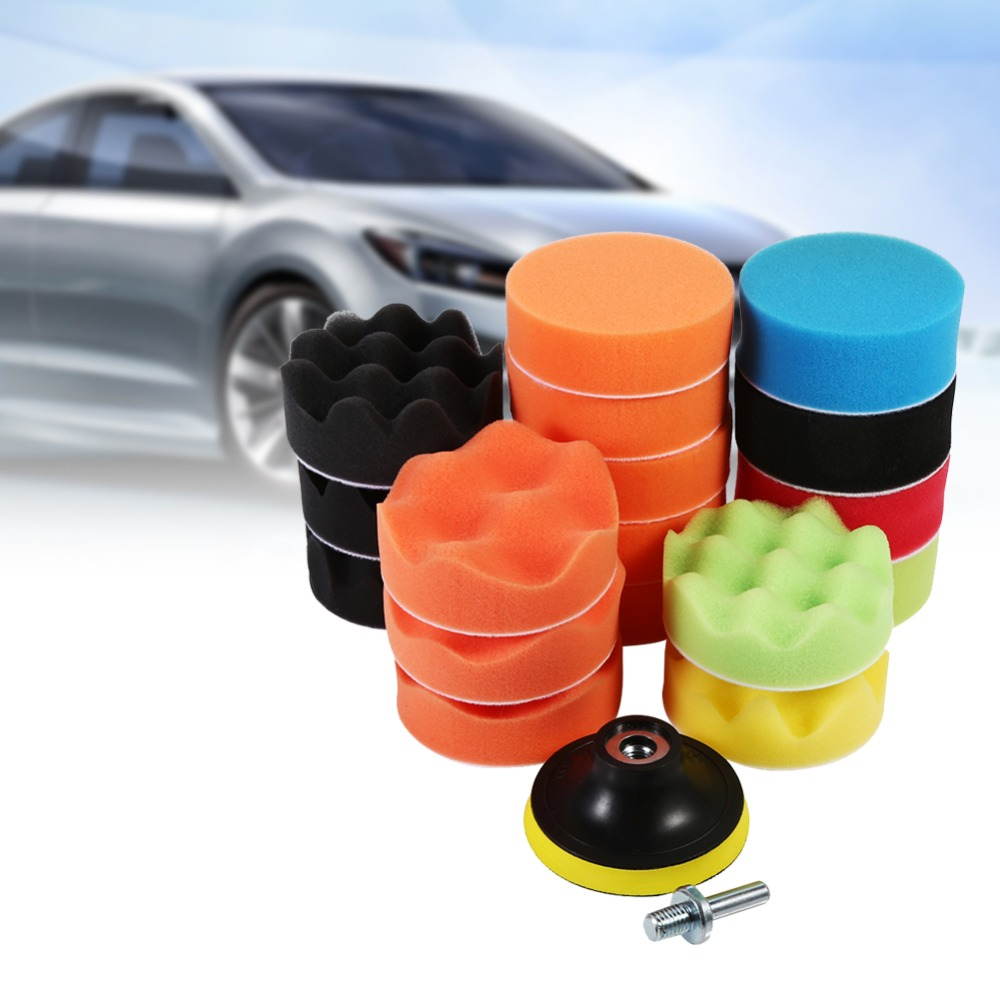 [해외]19 Pcs 3 & 스폰지 버프 연마 패드 세트 Car Polisher & amp; 왁싱 (M10 드릴 어댑터)/19 Pcs 3& Sponge Buff Polishing Pad Set For Car Polisher & Waxing(M10 D