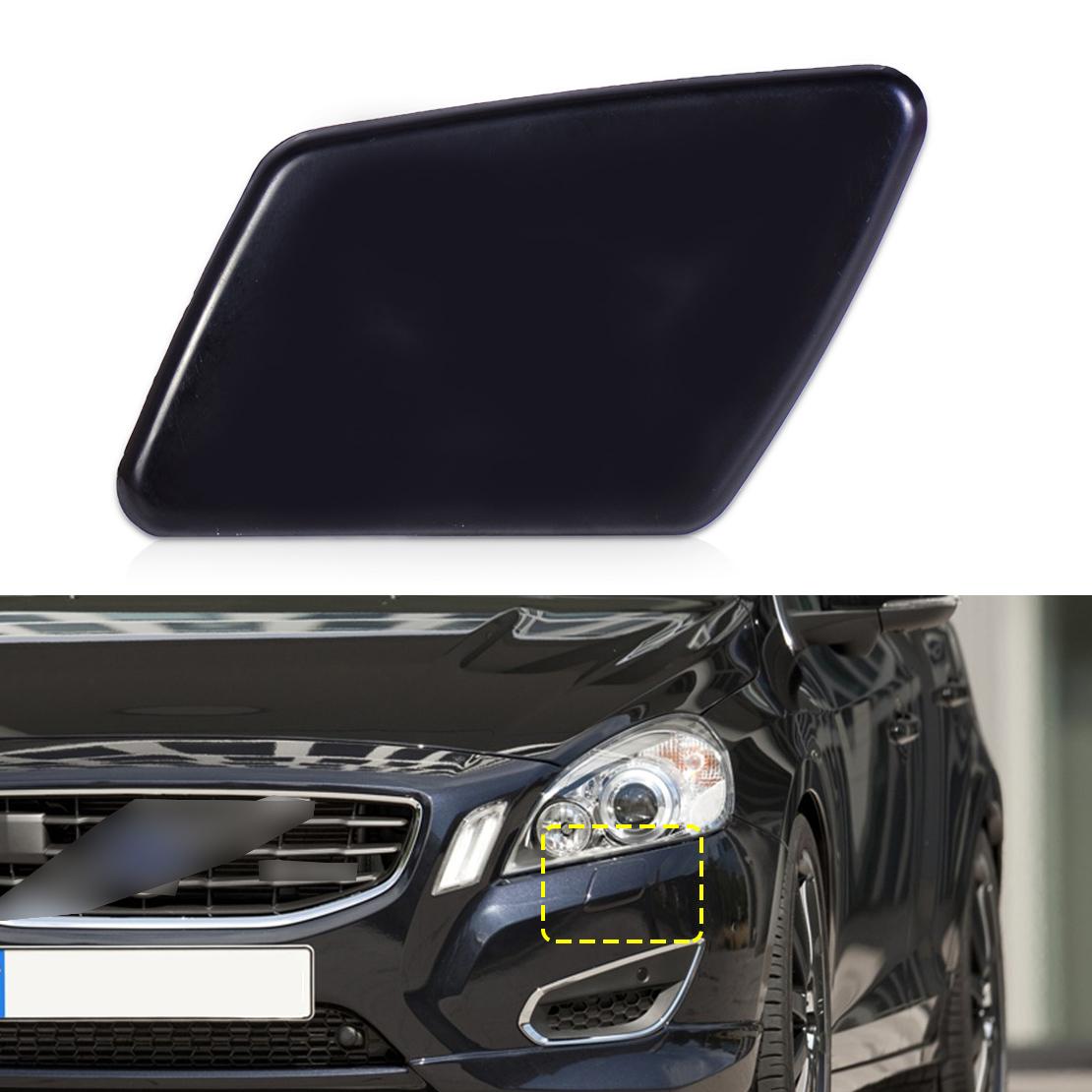 [해외]자동차 블랙 플라스틱 앞 좌측 범퍼 헤드 라이트 와셔 제트 노즐 커버 캡 39991798 Volvo S40 V50 2005 2006 2007에 적합/Car Black Plastic Front Left Bumper Headlight Washer Jet Nozzle