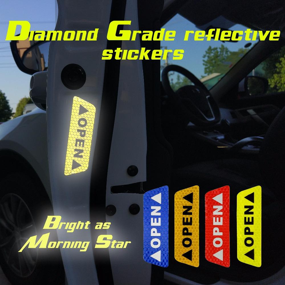 새로운 4 Pcs 오픈 스티커 장거리 반사 자동차 도어 안전 anti-collision 경고 반사 스티커