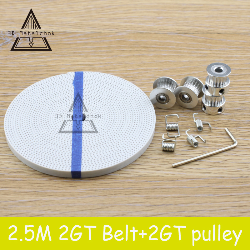 [해외]?2X GT2 도르래 20 Teeth Bore 5mm + 8ft 2.5m 2GT GT2 PU 타이밍 벨트 & amp; 3D 프린터 RepRap 용 2X Idler 4X 텐셔너/ 2X GT2 Pulley 20 Teeth Bore 5mm + 8ft 2.5m