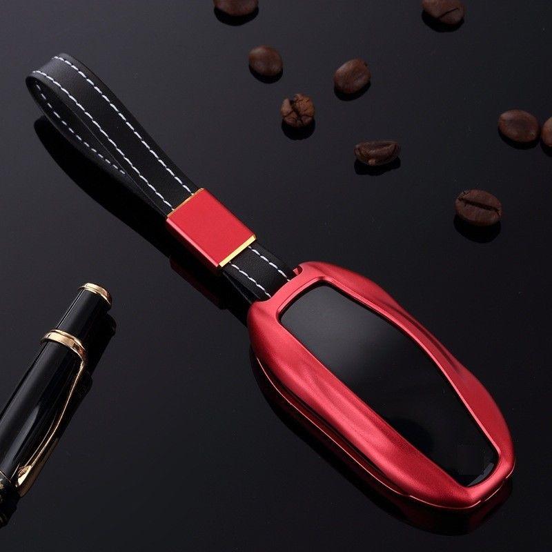 [해외]자동차 키 액세서리 1PCS 자동차 키 FOB 케이스 알루미늄 가죽 패션 자동차 키 테슬라 모델 S / X 보호 커버 홀더/Car Key Accessories 1Pcs Car Key Fob Case Aluminum Leather Fashion Car keys P
