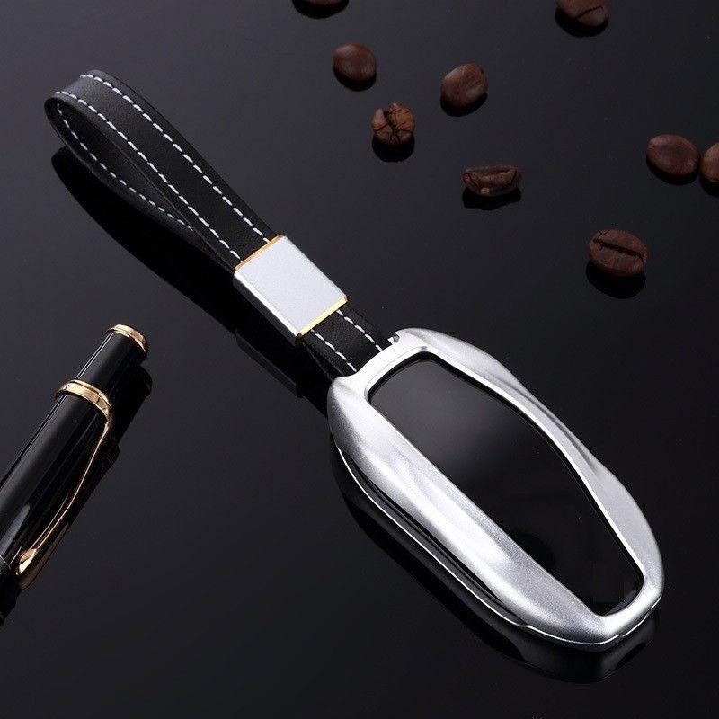 [해외]테슬라 모델 S / X 원격 자동차 키 FOB 케이스 알루미늄 가죽 키 커버 홀더 포켓 자동 셸 후드 액세서리/For Tesla Model S/X Remote Car Key Fob Case Aluminum Leather Keys Cover Holder Pocke