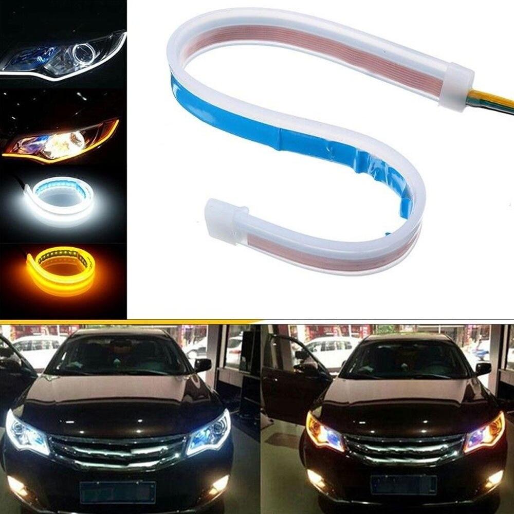[해외]1PCS 45/60cm Two-color LED Light Bar Car Turn Signal HeadlightsLED Light Strip Silicon Light Guide Strip Streamer Bar Lamp/1PCS 45/60cm Two-color