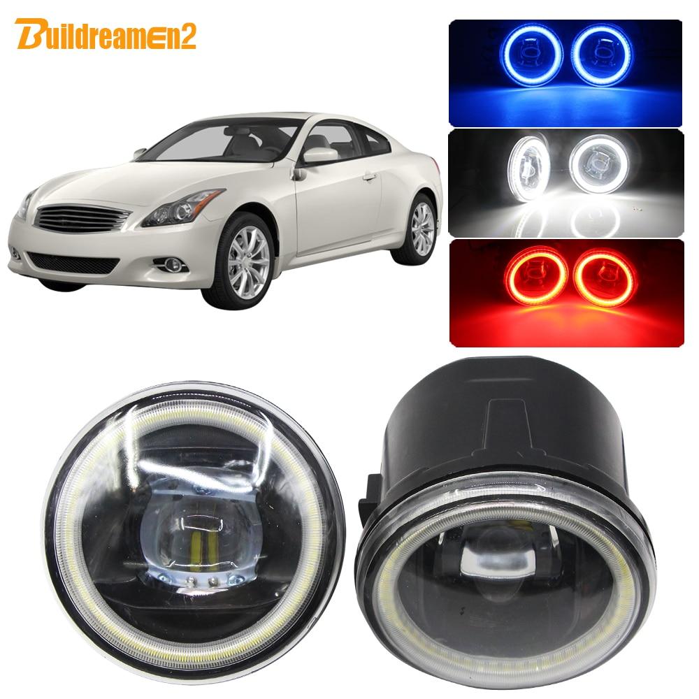 Buildreamen2 자동차 H11 LED 전구 4000LM 안개 라이트 렌즈 천사 눈 주간 러닝 라이트 12V 인피니티 G G25 G37 2011 2012 2013