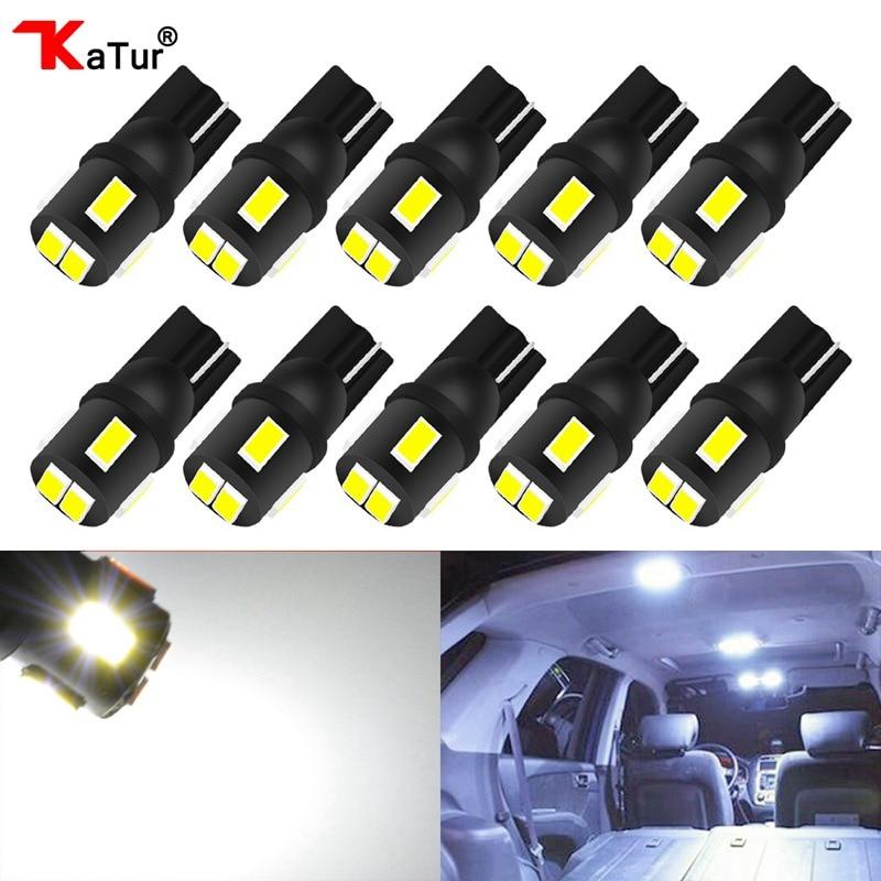 Katur 10Pcs T10 W5W 소켓 LED 전구 자동차 인테리어 조명 194 전구 돔 라이센스 플레이트 조명 트렁크화물 램프 화이트