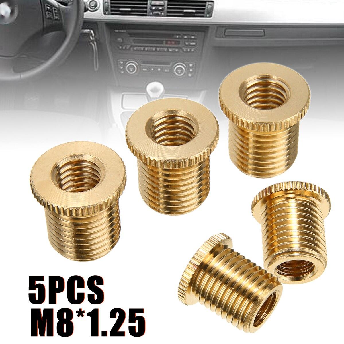 5pcs m8x1.25 기어 시프트 노브 스레드 어댑터 너트 삽입 알루미늄 합금 자동차 자동차 액세서리