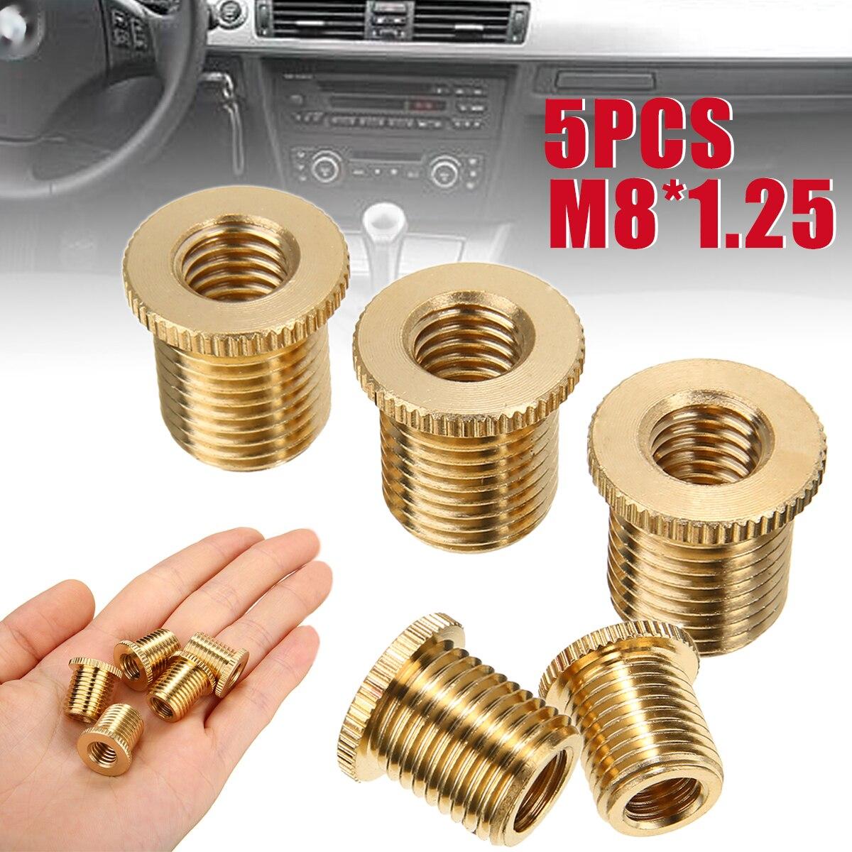 [해외]Mayitr 5pcs M8x1.25 Gold Gear Shift Knob Thread Adapter Nuts Inserts Aluminum Alloy Car Auto Universal Accessories/Mayitr 5pcs M8x1.25 Gold Gear S