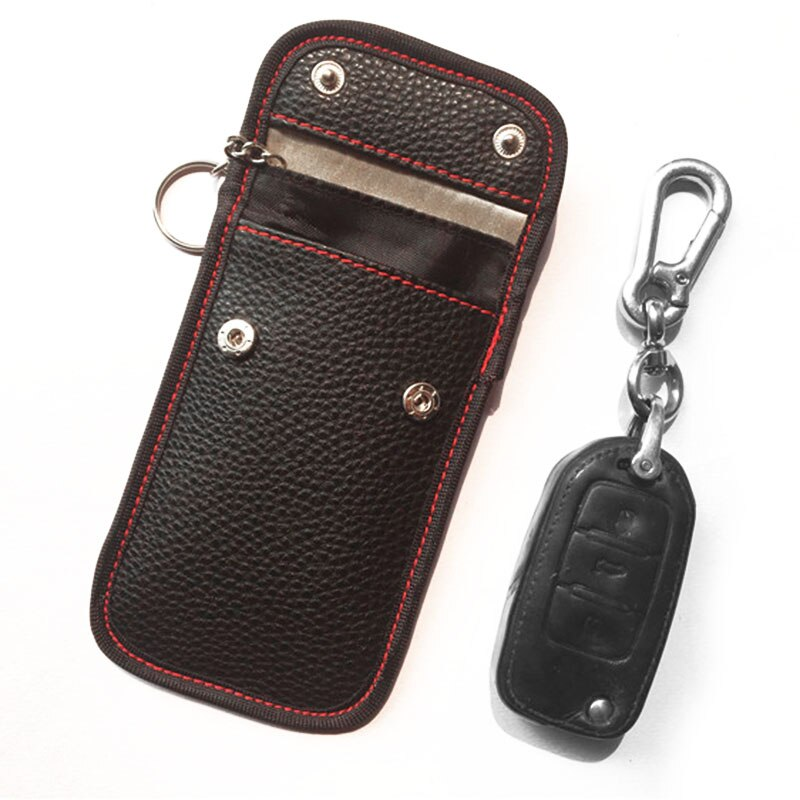 [해외]Fashion Leather Car Key Bag Anti-theft Signal Blocking Square Key Pouch Case 1pc/Fashion Leather Car Key Bag Anti-theft Signal Blocking Square Key