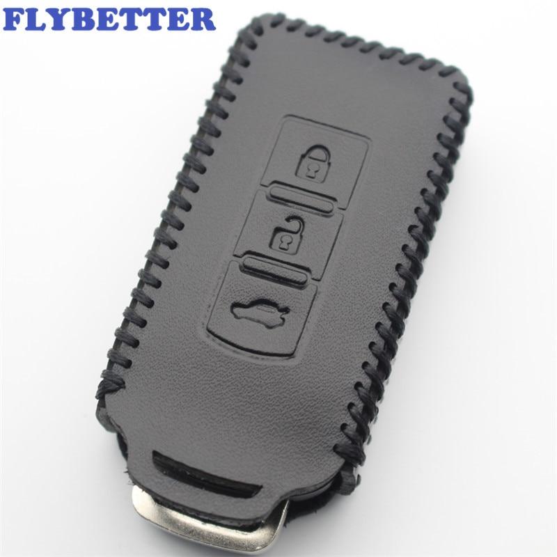 FLYBETTER 정품 가죽 키 체인 3 버튼 스마트 키 케이스 커버 미쓰비시 Outlander/Lancer/Pajero/ASX 자동차 스타일링 (B) L338