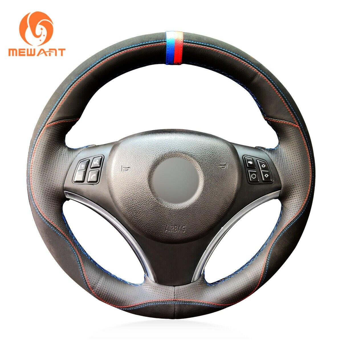 [해외]Steering Wheel Cover Wrap Around Sewing by Hand Black Leather Steering Cover for BMW E90 320i 325i 330i 335i/Steering Wheel Cover Wrap Around Sewi