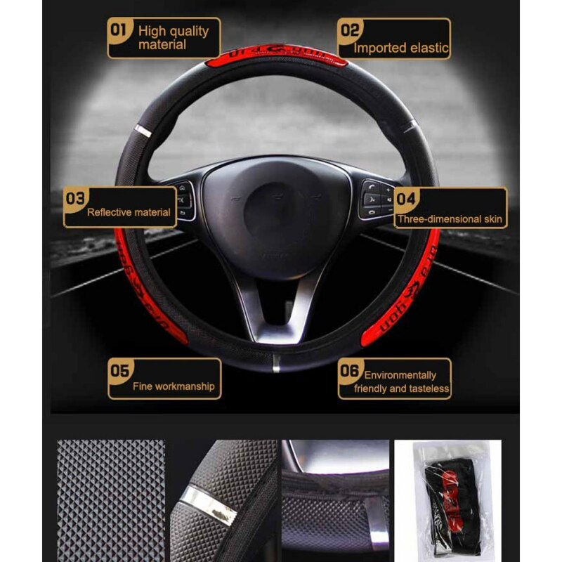 [해외]Car Accessorie Universal Leather Car Steering Wheel Cover 38CM Car-styling Sport Auto Steering Wheel Covers Anti-Slip Automotive/Car Accessorie Un