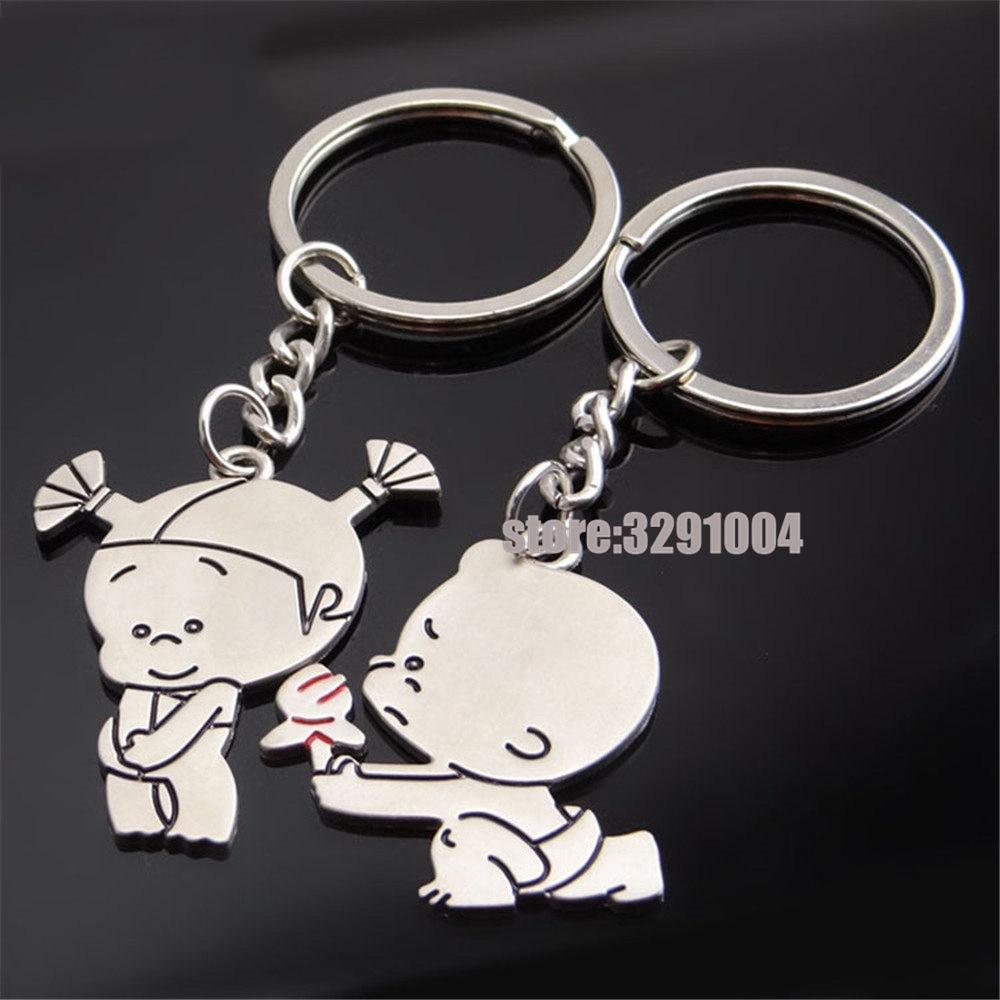 [해외]페어 보이 Courting 여자 커플 키 체인 자동차 키 링 for toyota corolla audi a4 b8 시트로엥 c4 포커스 for 3 VW 키 체인 Keyring/A Pair Boy Courting Girl Couple Key Chain Car Ke