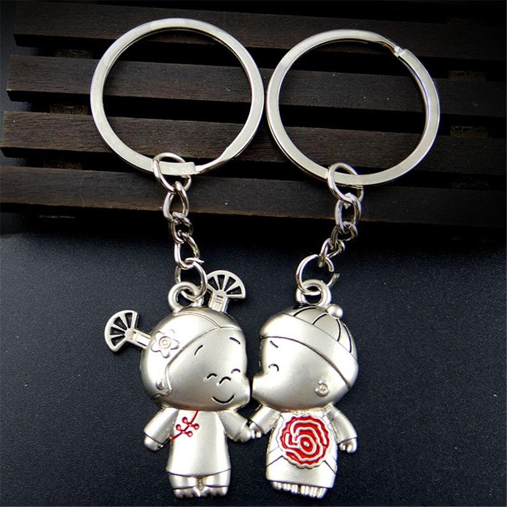 [해외]페어 남자와 여자 애호가 키 체인 홀더 폭스 바겐 Passat B6 아우디 A3 Bmw E90 포드 피에스타 들어 자동차 키 링 307 시보레 Cruze/A Pair Boy And Girl Lover Key Chain Holder Car Key Ring For