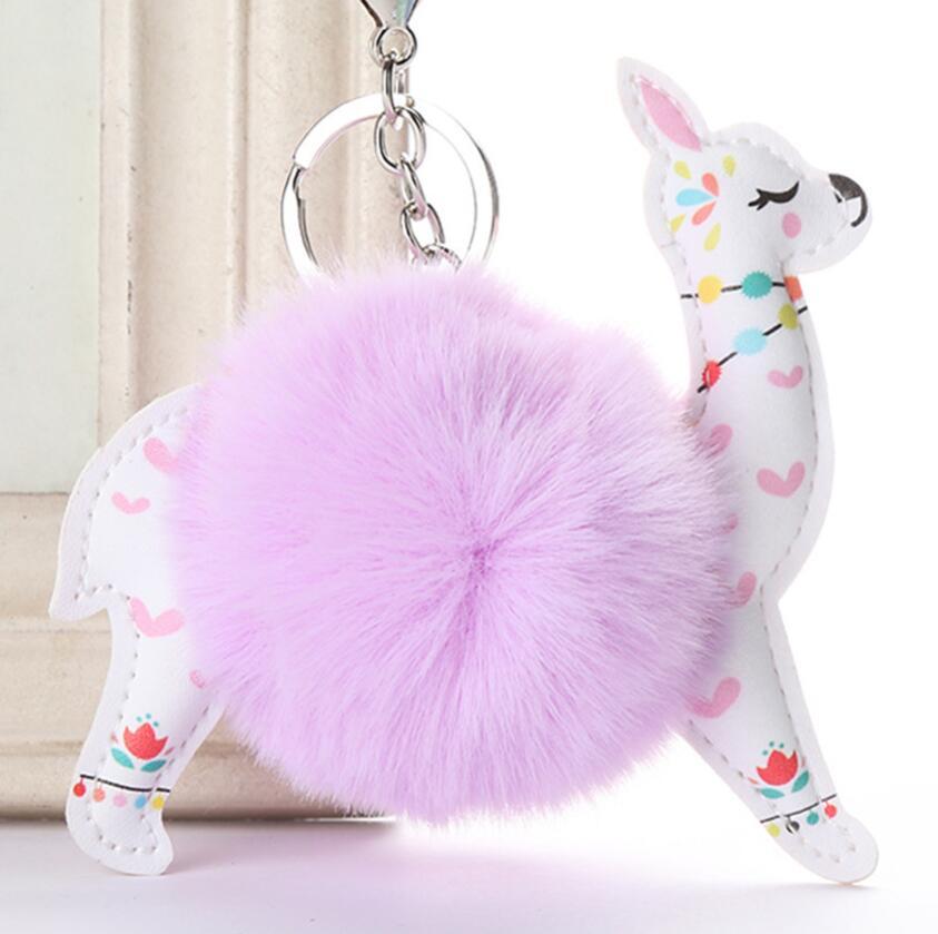 [해외]Car Keychain New Floral PU Cute Alpaca keychain Car Keys Car Hang Girl Bag Pendant Jewelry Accessories Key Rings Wholesale /Car Keychain New Flora