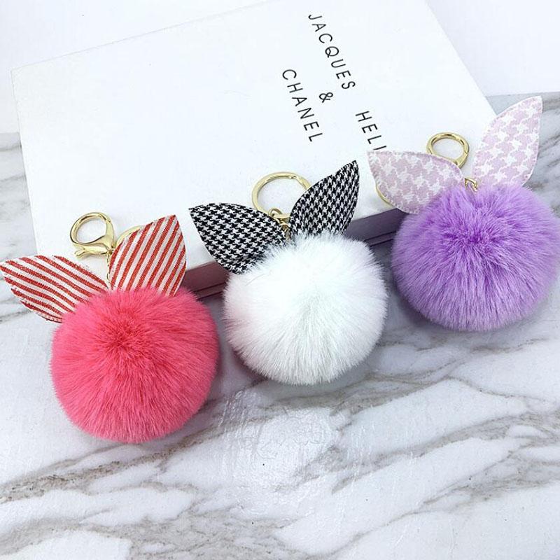 [해외]Car Keychain New Fabric Rabbit Ear Ball keychain car keys Alpaca Ball Girl Bag Pendant Jewelry Accessories Key Rings Wholesale/Car Keychain New Fa