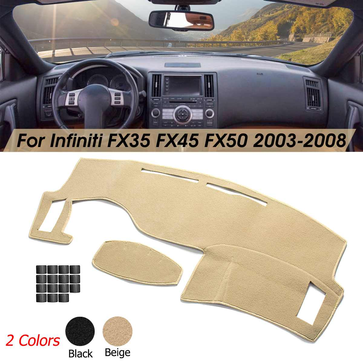 [해외]Car Dashboard Dashmat Dash Cover Sun Visors Sunshade Mat Carpet For Infiniti FX35 FX45 FX50 2003-2008 Black Beige Anti-slip/Car Dashboard Dashmat