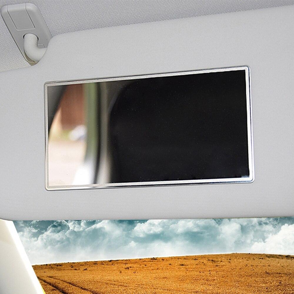 새로운 도착 휴대용 자동차 메이크업 거울 자동차 인테리어 일 음영 스테인레스 스틸 자동차 hd 인테리어 거울 110*65mm