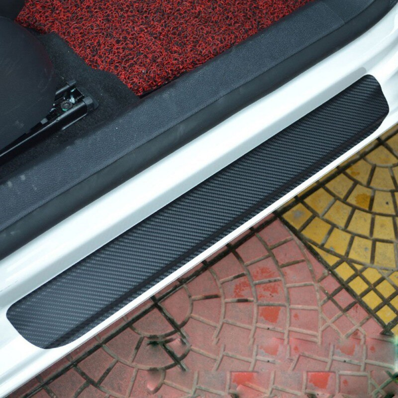 [해외]4 Pcs Black Red Carbon Fiber Car Door Pedal Plate Sill Scuff Cover Sticker Car Interior Mouldings Auto Accessories/4 Pcs Black Red Carbon Fiber Ca