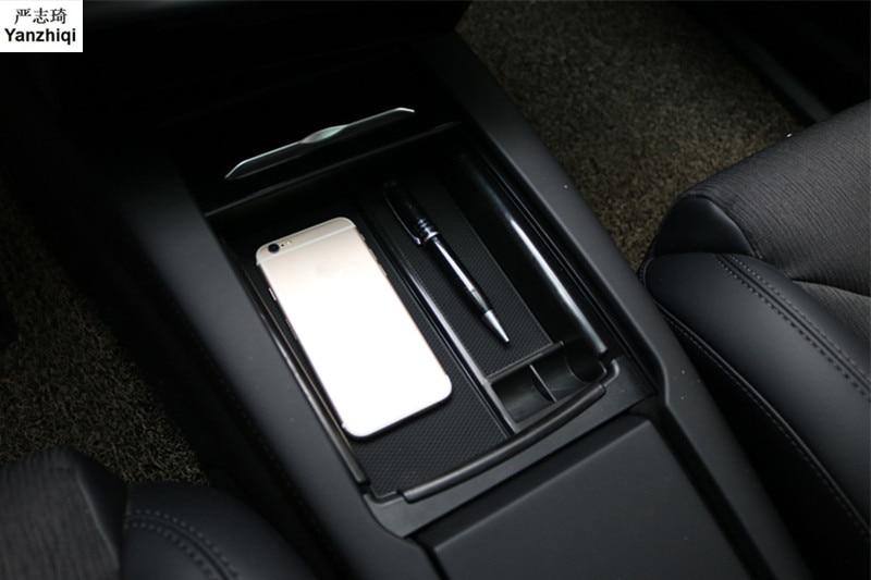 [해외]ABS 1pc Mobile phone wireless charging Central Armrest Storage Box Car Accessories For Tesla Model X Model S 2016 2017 2018/ABS 1pc Mobile phone w