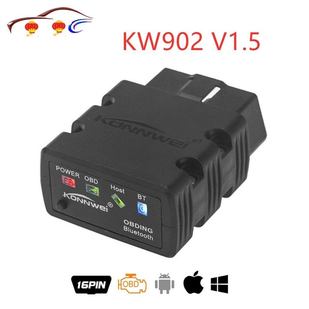 [해외]New Konnwei KW902 ELM327 V1.5 Bluetooth / Wifi OBD2 OBDII CAN-BUS Diagnostic Car Scanner Tool Works on iOS iPhone 안드로이드 Phone/New Konnwei KW902 EL
