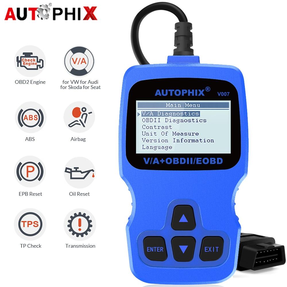 [해외]Autophix V007 Car Diagnostic Tool for Golf Gol Passat A4 A6 Q7 ABS SRS Oil Service Reset Tool OBD2 Automotive Scanner ODB/Autophix V007 Car Diagno