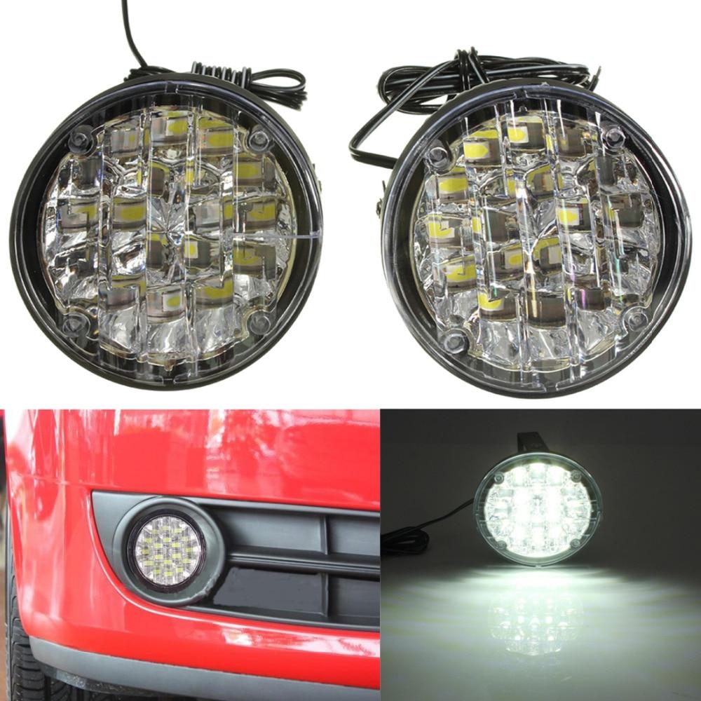 [해외]2 pcs 12 v 18 leds 자동차 자동차 화이트 라이트 라운드 운전 램프 자동차 주간 러닝 라이트 led 안개 램프 drl 램프 (6000 k  8000 k)/2 pcs 12 v 18 leds 자동차 자동차 화이트 라이트 라운드 운전 램