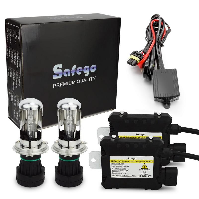[해외]Safego h4 9003 9008 bixenon hid 키트 35 w/55 w hi/lo 빔 bi-xenon 헤드 라이트 전구 + 릴레이 하네스 + 디지털 슬림 밸러스트/Safego h4 9003 9008 bixenon hid 키트 35 w/
