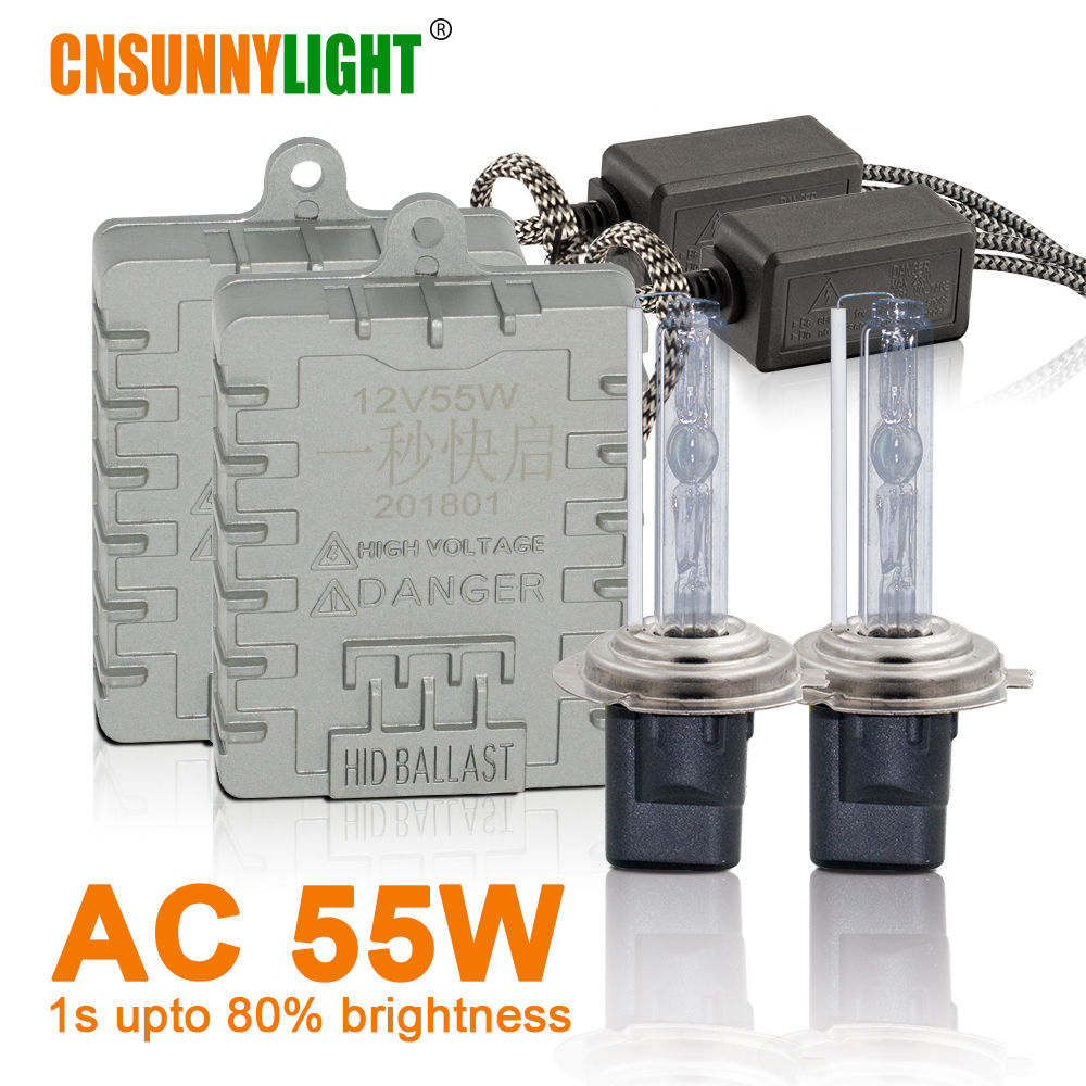 [해외]CNSUNNYLIGHT 1s 빠른 밝기 55W HID 크세논 전조등 H7 H1 H3 H11 H8 HB3 HB4 9005 9006 881 H27 4300K 6000K 8000K 안개 램프/CNSUNNYLIGHT 1s 빠른 밝기 55W HID 크세