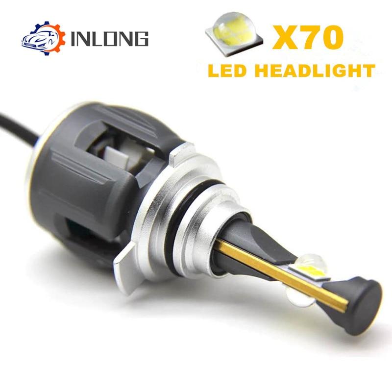 [해외]Inlong x70 2 pcs h4 h7 h1 9005 9006 자동차 led 전조등 전구 h11 h8 h9 d1s d2s d4s hp led 램프 칩 자동 전조등 안개등 6000 k/Inlong x70 2 pcs h4 h7 h1 9005 90
